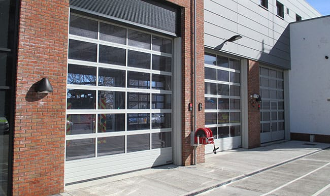 Sectional Doors On Back Of Fire Station